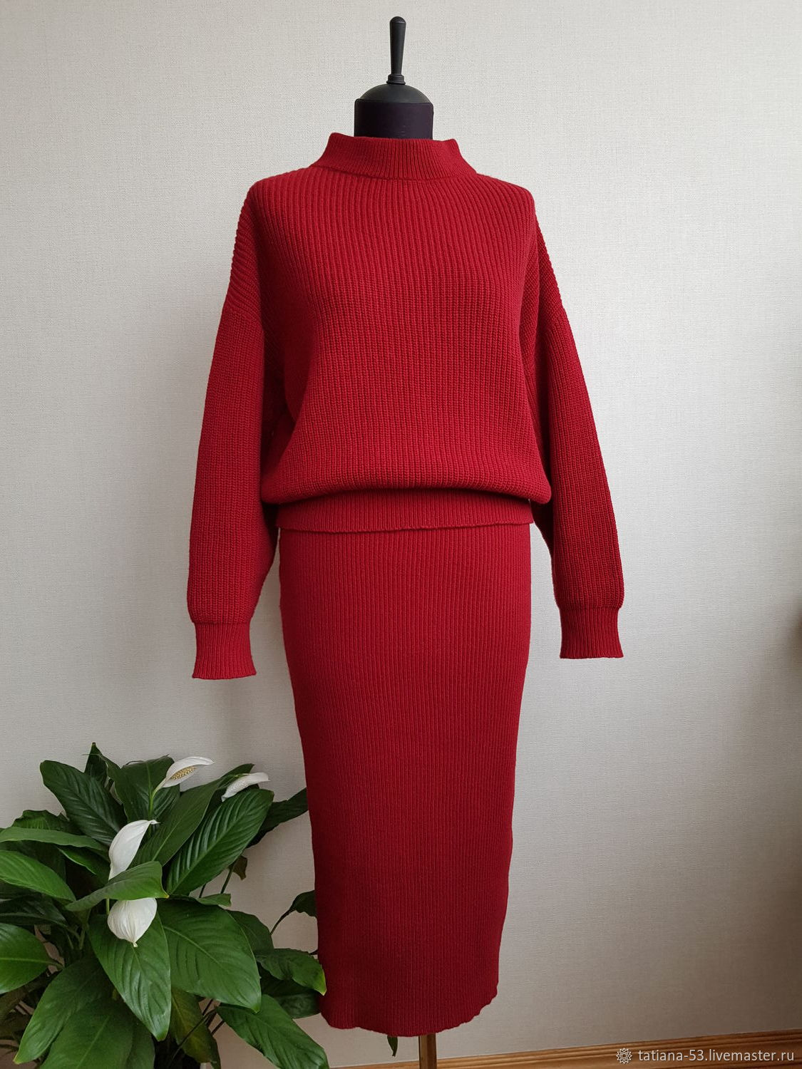 Burgundy knitted suit, Suits, Moscow,  Фото №1