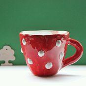 Посуда ручной работы. Ярмарка Мастеров - ручная работа Чашка Красная в Белый Горошек - Мухоморчик. Handmade.
