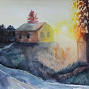 Картины и панно handmade. Livemaster - original item Painting a watercolor Sunset in the village. Handmade.