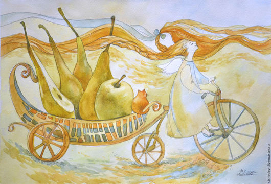 """Фантазийные сюжеты ручной работы. Ярмарка Мастеров - ручная работа. Купить Акварель """"Счастье в дом"""". Handmade. Оранжевый, желтый цвет"""