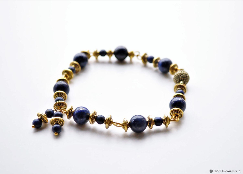 Aztec gold lapis lazuli bracelet for women, Bead bracelet, Moscow,  Фото №1