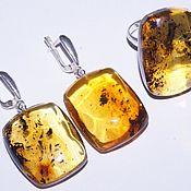 Украшения handmade. Livemaster - original item Rectangular set made of natural amber with inclusions.. Handmade.