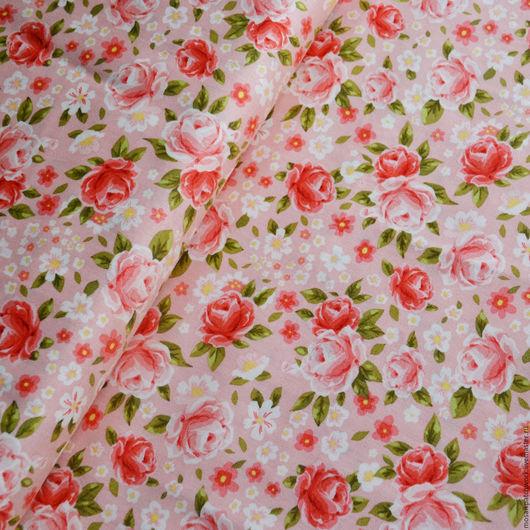 """Шитье ручной работы. Ярмарка Мастеров - ручная работа. Купить Хлопок для шитья. Ткань для пэчворка. Корея. """"Розы на розовом"""". Handmade."""