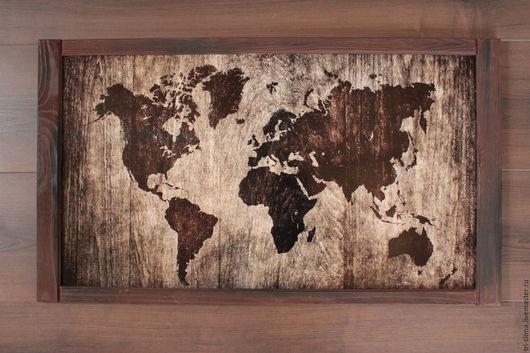 """Подвески ручной работы. Ярмарка Мастеров - ручная работа. Купить Доска для магнитов """"Карта"""" в деревянной раме. Handmade. Коричневый"""