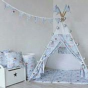 Вигвам детский Единороги. Палатка. Шалаш. Детский домик.