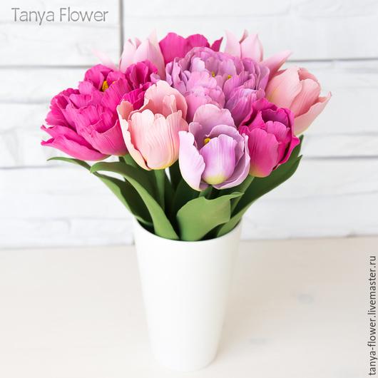 Букеты ручной работы. Ярмарка Мастеров - ручная работа. Купить Букет тюльпанов. Handmade. Tanya flower, красивый букет цветов