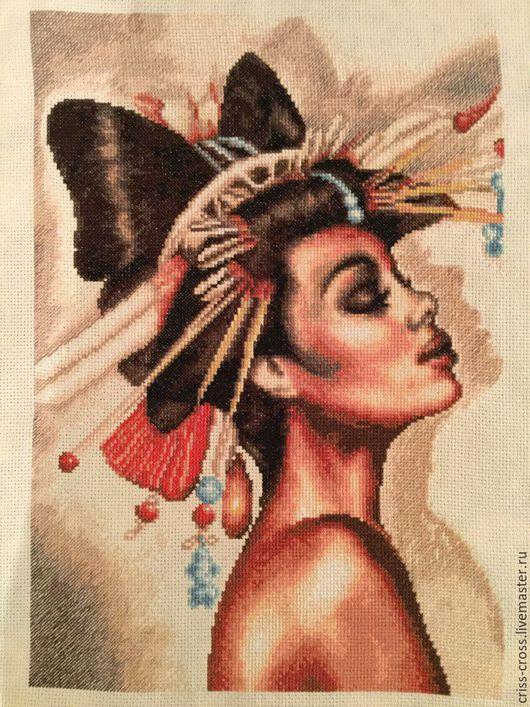 """Люди, ручной работы. Ярмарка Мастеров - ручная работа. Купить Вышивка крестом """"Наоми"""". Handmade. Бежевый, Вышивка крестом, женщина"""