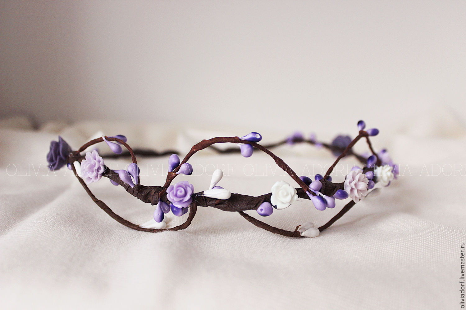 Wedding Floral Crown With White And Violet Roses Bridal Headpiece