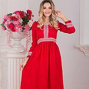 Одежда handmade. Livemaster - original item Dress red linen Alatyr with sleeve. Handmade.