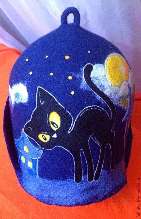 """Банные принадлежности ручной работы. Ярмарка Мастеров - ручная работа. Купить Шапка банная """"Черная кошка при желтой луне"""". Handmade."""