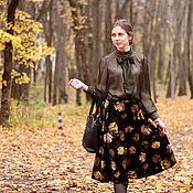 Одежда ручной работы. Ярмарка Мастеров - ручная работа Юбка из бархата Чёрная роза. Handmade.