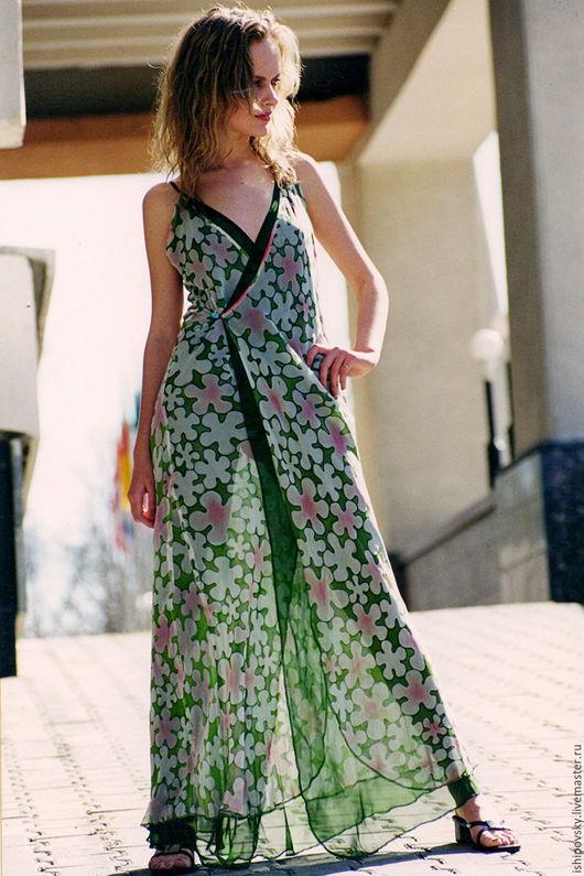 Платья ручной работы. Ярмарка Мастеров - ручная работа. Купить Платье с запахом из ткани, расписанной вручную. Handmade. Мятный
