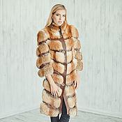 Одежда handmade. Livemaster - original item Fox fur coatwith leather stripes. Handmade.