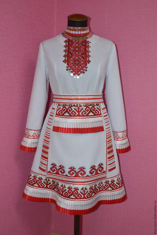 Этническая одежда ручной работы. Ярмарка Мастеров - ручная работа. Купить Платье марийское. Handmade. Белый, платье марийское, передник