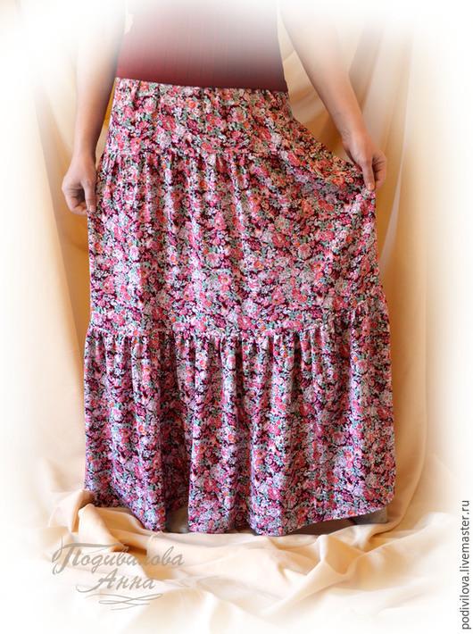 """Юбки ручной работы. Ярмарка Мастеров - ручная работа. Купить Юбка из штапеля""""Цветочный ветер"""",длиннаяя,ярусная,летняя. Handmade. Розовый"""