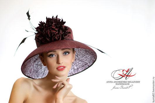Свадебные и вечерние аксессуары ручной работы. Широкополая шляпа для скачек `Империя`. Анна Андриенко.
