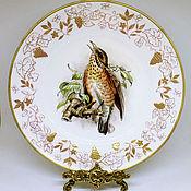 """Посуда ручной работы. Ярмарка Мастеров - ручная работа Роспись фарфора. Тарелка """"Birds of  England"""". Handmade."""