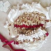 Трусы ручной работы. Ярмарка Мастеров - ручная работа Ночное белье Liila Винтажные Розы Бордо с подвязкой. Handmade.