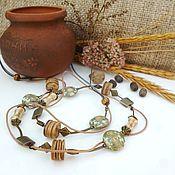 Украшения handmade. Livemaster - original item Beads Flowering flax. Handmade.