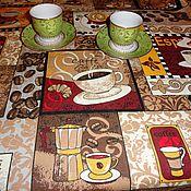 """Для дома и интерьера ручной работы. Ярмарка Мастеров - ручная работа Хлопковая скатерть """"Хотите кофе?"""" 192 см х 145 см. Handmade."""