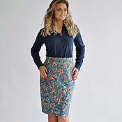 Одежда ручной работы. Ярмарка Мастеров - ручная работа Юбка джинсовая с цветами. Handmade.