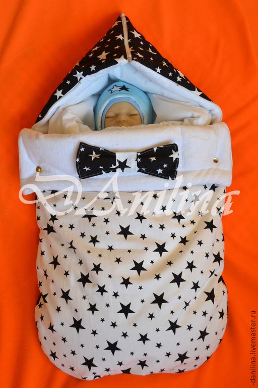 Для новорожденных, ручной работы. Ярмарка Мастеров - ручная работа. Купить Комплект ЗВЕЗДНЫЙ ЗИМНИЙ. Handmade. Чёрно-белый, одеяло