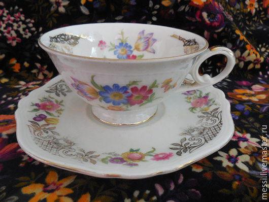 Винтажная посуда. Ярмарка Мастеров - ручная работа. Купить Чайная пара для коллекции, фарфор, Eschenbach, Seltmann Weiden. Handmade. Комбинированный