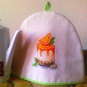 """Для дома и интерьера ручной работы. Ярмарка Мастеров - ручная работа Грелка на чайник с ручной вышивкой """"Апельсиновая долька"""". Handmade."""
