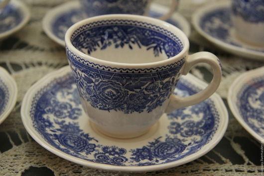 Винтажная посуда. Ярмарка Мастеров - ручная работа. Купить Шесть чайных пар Villeroy & Boch Burgerland в синих тонах. Handmade.