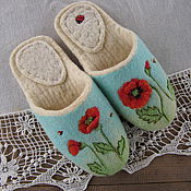 """Обувь ручной работы. Ярмарка Мастеров - ручная работа Тапочки валяные,из войлока."""" Весенний луг"""". Handmade."""