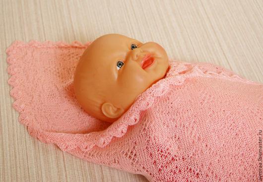 Плед  вязаный детский. Ажур сердечки. Машинная вязка. Оберег. Одеялко. Ручная работа.