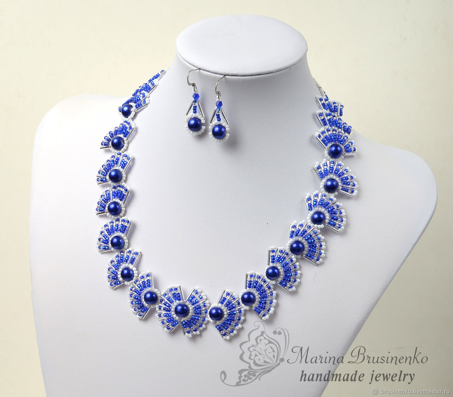 buttons handmade products beaded ceramic atelier necklaces featuring bead necklace blue
