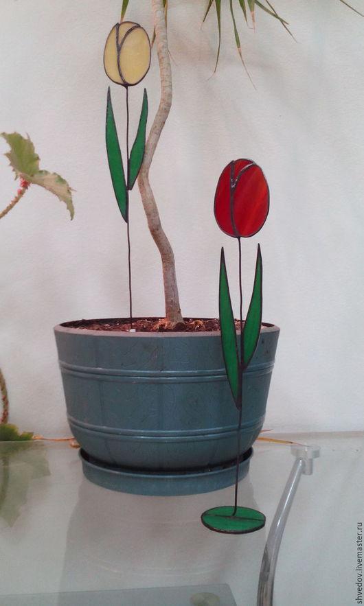 Элементы интерьера ручной работы. Ярмарка Мастеров - ручная работа. Купить витражный тюльпан. Handmade. Разноцветный, цветы, Витраж Тиффани