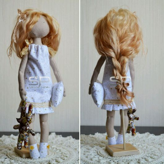 Коллекционные куклы ручной работы. Ярмарка Мастеров - ручная работа. Купить Малышка. Handmade. Бежевый, зеленый, лён