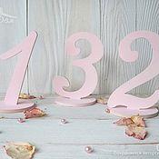 Карточки ручной работы. Ярмарка Мастеров - ручная работа Номерки для столов пудровые (Цифры для нумерации). Handmade.