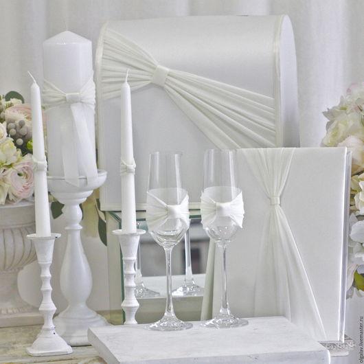 Свадебные аксессуары ручной работы. Ярмарка Мастеров - ручная работа. Купить Полный набор свадебных аксессуаров. Handmade. Белый