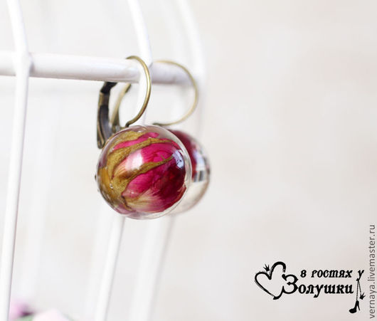 Earrings handmade. Livemaster - handmade. Buy Earrings 'Living rose'.Bright red, flower decorations, mediocrity flowers, glass dome