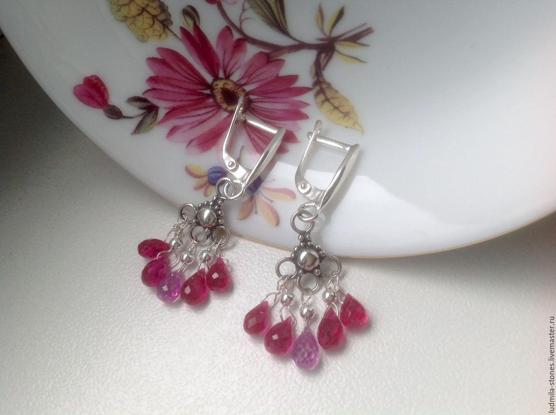 Silver earrings 'fuchsia', Earrings, Moscow,  Фото №1