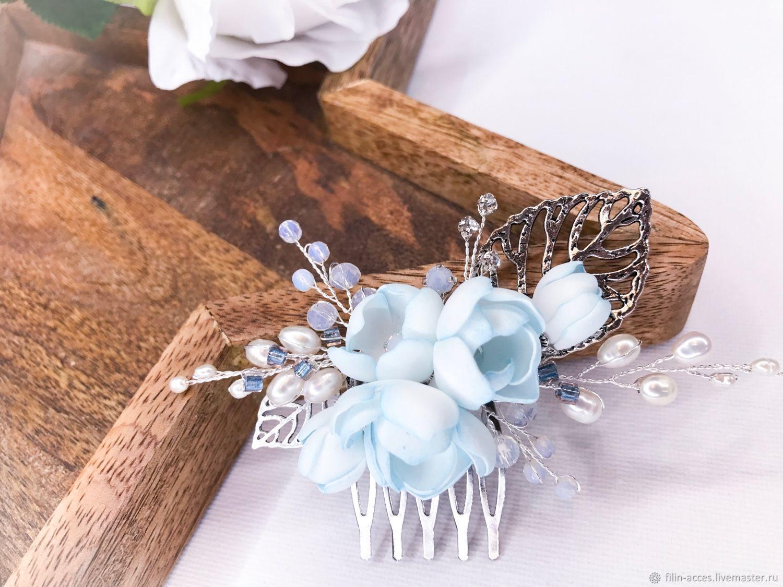 Гребешок в прическу с нежно-голубыми цветами, Свадебные украшения, Москва, Фото №1