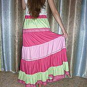Одежда ручной работы. Ярмарка Мастеров - ручная работа Юбка из шелка Малиновая длинная ярусная розово-зелено-малиновая. Handmade.