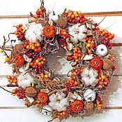Для дома и интерьера ручной работы. Ярмарка Мастеров - ручная работа Осенний венок Оранжевый. Handmade.