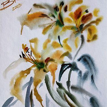 """Картины и панно ручной работы. Ярмарка Мастеров - ручная работа """"Картина Жёлтая лилия"""". Handmade."""