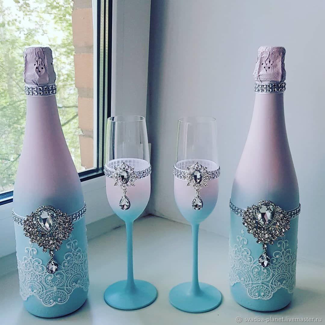 отмечают, что украшение свадебных бокалов и бутылок фото процесс