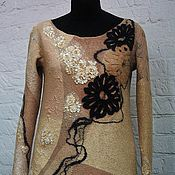 handmade. Livemaster - original item Felted sweater Caramel and licorice. Handmade.