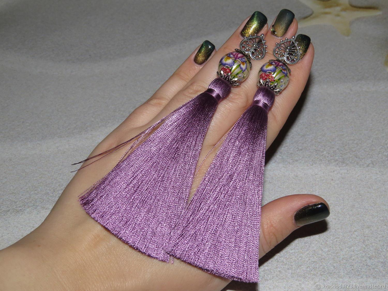 earrings-brush purple with beads of tanisha