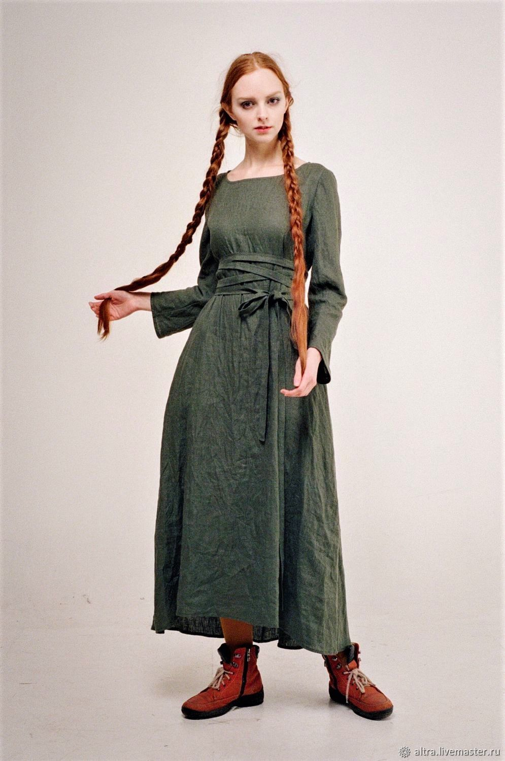 Linen dress 'Beauty of simple lines' (green smoky), Dresses, St. Petersburg,  Фото №1