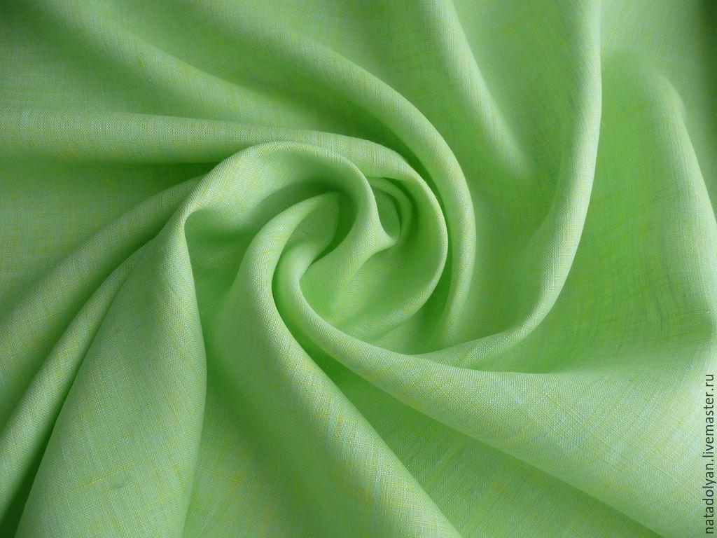 """Лен 100% сорочечный """"Ярко-салатовый"""" Остаток 60 см, Fabric, Ivanovo,  Фото №1"""