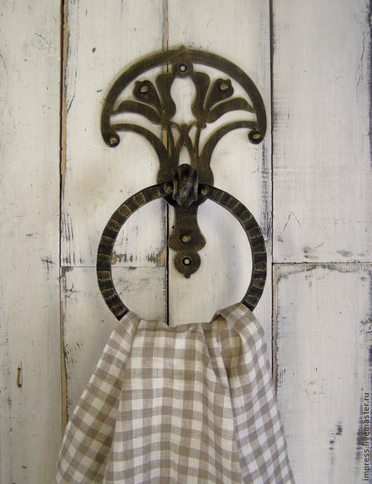 Ванная комната ручной работы. Ярмарка Мастеров - ручная работа. Купить Держатель для полотенец с кольцом Лилии. Handmade. Чёрно-белый