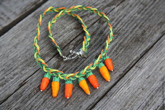 Колье, бусы ручной работы. Ярмарка Мастеров - ручная работа. Купить Морковное счастье. Handmade. Рыжий, оранжевое настроение, подарок