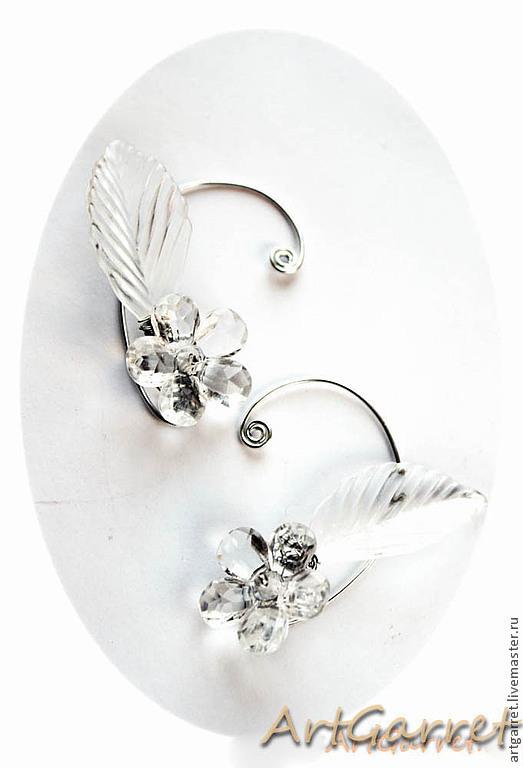 """Каффы ручной работы. Ярмарка Мастеров - ручная работа. Купить Каффы """"Зимние цветы"""" (Art: kf675). Handmade. Белый, алминий"""